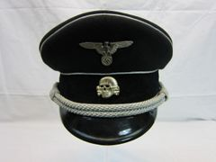 WWII German SS Officer's Visor Cap, Makers Mark and Dated - ORIGINAL VERY RARE -SOLD