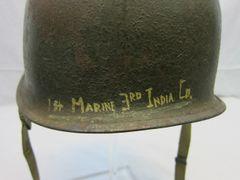Vietnam War - 1st Marines Steel Pot Helmet, Swivel Bale, Front Seam, Id to the 1st Marine, 3rd India Co. - ORIGINAL -