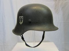 "WWII - German SS M42 Helmet, ID'd to Heinz Schiller Heavy Panzer Division ""Tiger Tanks"" - ORIGINAL VERY RARE -"