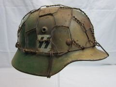WWII German SS Single Decal M40 Helmet, Normandy Camouflage,- RARE ORIGINAL -SOLD