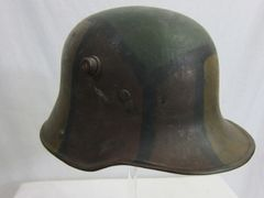 WWI - German M16 Camouflage Helmet, with Original Leather Liner - ORIGINAL RARE -