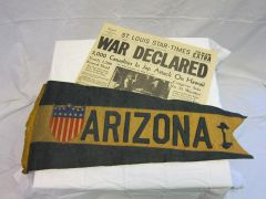 USS Arizona - Pennant Swallowtail Flag, w/13 stars in a military shield - ORIGINAL RARE -