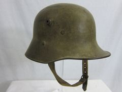 WWI - German M17 Helmet, with Original Leather Liner and Canvas Style Strap - ORIGINAL RARE -