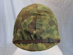 WWII USMC M1 Steel Pot Helmet w/USMC Camouflage Cover, Swivel Bale, Front Seam w/Westinghouse - ORIGINAL - SOLD-