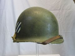 U.S. M1 Helmet Swivel Bale Front Seam w/Westinghouse Liner, Marked 3rd Inf. Div. - ORIGINAL -