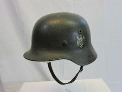 WWII German Heer Army Double Decal M35 Helmet,Green Brush Camouflage,- ORIGINAL RARE -