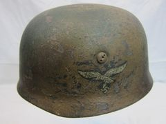 WWII German Paratrooper Helmet, Camouflag, Original, ID'd, Singl Decal -ORIGINAL VERY RARE