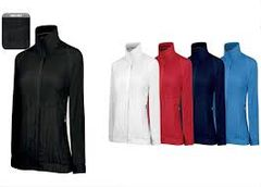 Adidas Ladies Climaproof Full Zip Golf Wind Jacket - Colours Red & Navy
