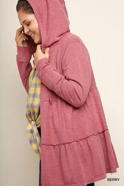d586029986c5 Berry Ruffled Hooded Jacket