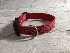 Handmade Multi Red Love Hearts Valentine Dog Collar