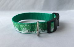 Christmas Tree and Snow Handmade Dog Collar