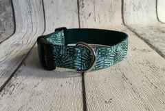 Green Leaf Effect Handmade Dog Collar