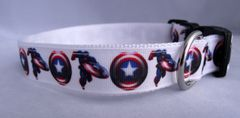 Handmade Super Hero Dog Collar Captain America