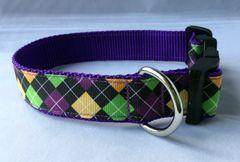 Diamond Pattern Purple,Yellow,Green Handmade Dog Collar