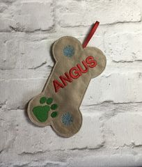 Personalised Christmas Dog Bone Treat Bag Handmade