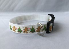Christmas Tree and GingerBread Man Handmade Dog Collar