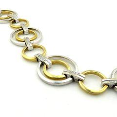 Diamond and gold two tone bracelet 14k