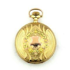 Vintage Elgin tri-color gold pocket watch 14k