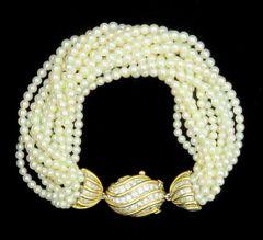 Cartier diamond and cultured pearl bracelet 18k/platinum