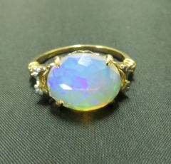 Faceted Opal and vintage 14k yellow gold ring