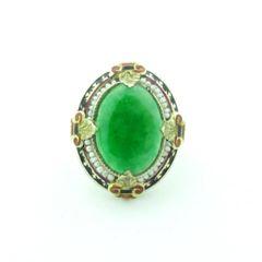 Vintage jade enamel and seed pearl ring 14k