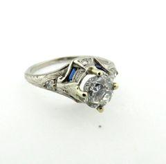 Vintage mount with modern diamond engagement ring 18k