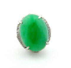 """A"" grade Jade and diamond ring platinum"