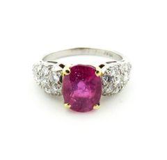 Modern design ruby and diamond ring plat/18k