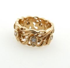 14k rose gold and diamond band