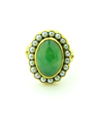 Jade and pearl ring 23k gold