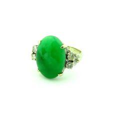 "Jade Grade ""A"" and diamond ring 14k"