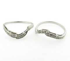 Dual matching diamond bands 14k