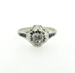 Vintage 18k diamond and sapphire ring