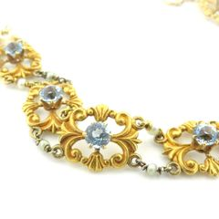 Art Nouveau aquamarine and natural pearl gold bracelet 14k