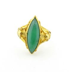 """Vintage green """"A"""" jade and gold ring 24k"""