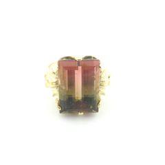 Bi-color Tourmaline and diamond ring 14k
