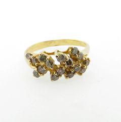 light brown diamond cluster ring 18k
