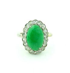 "Jade grade ""A"" and diamond ring 18k"