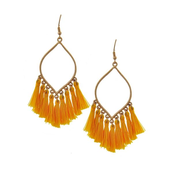 e4b828a1a Mustard Gold Tassel Earrings | BAZ and BEA