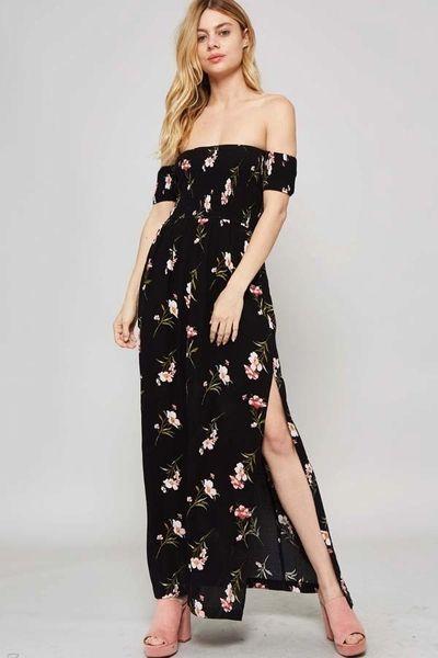 cdbf0263b8f5 Black Floral Off Shoulder Maxi Dress