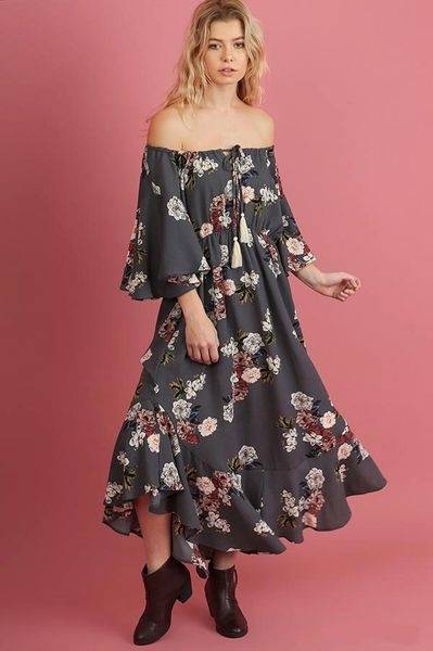 2b4ca9477461 Grey Floral Off Shoulder Maxi Dress