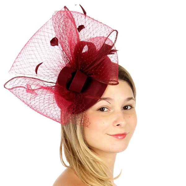 f2f90d18bc8 Burgundy Wool Fascinator Hat