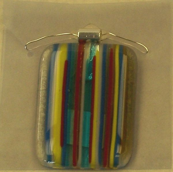Necklace, medium rectangle mardigras