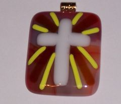 Necklace, cross, orange