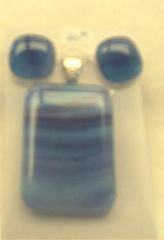 Necklace and earrings set, blue purple and white