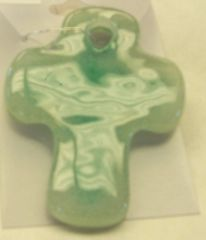 Necklace, cross, green frit