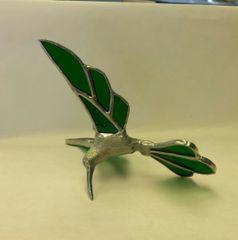 Green Hummingbird with metal body