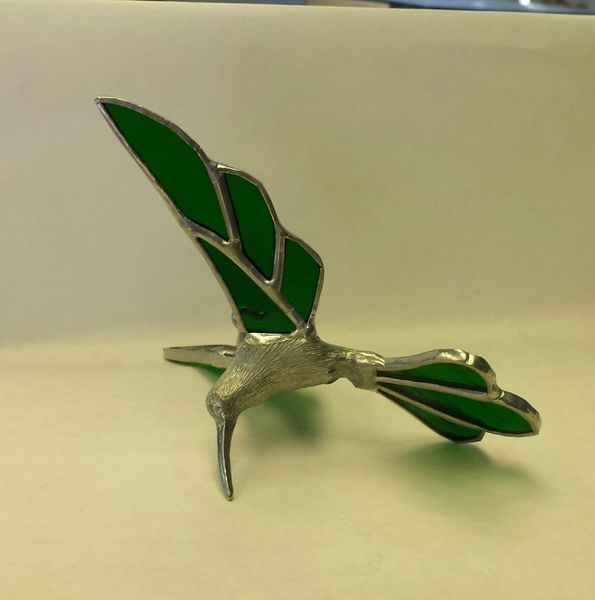 Green Hummingbird with metal body