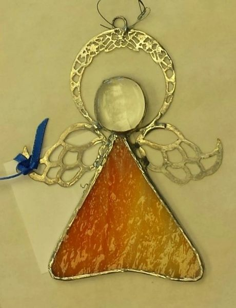 Angel ornament, orange and yellow