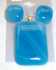 Necklace and earrings set, two toned blue